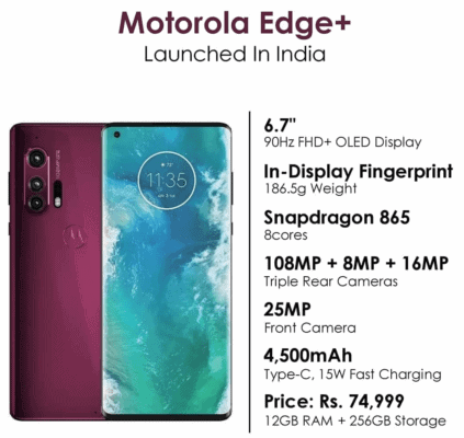 MOTOROLA launched 5G phone with 108MP camera