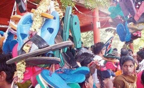 The reason why such a temple in India is offered to the Mother Goddess by garland of shoes